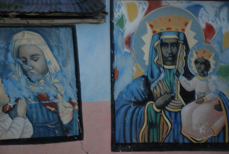 Murals on the wall of a Voodoo temple in Titanyen.