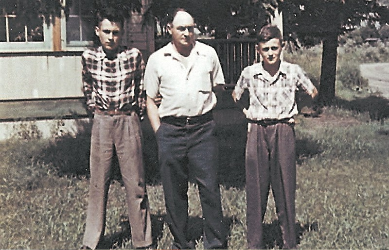 Uncle Bill, Grandpa Bill, Dad Brian, Saltcoats, 1949 or 1950