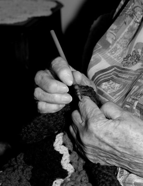 Hands crocheting