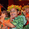 Young girls perform traditional Hawaiian dances in Honolulu, Hawaii.
