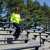 Heart attack survivor Beth Flanagan exercises at Doyle Field on Friday, April 15. SENTINEL & ENTERPRISE / Ashley Green