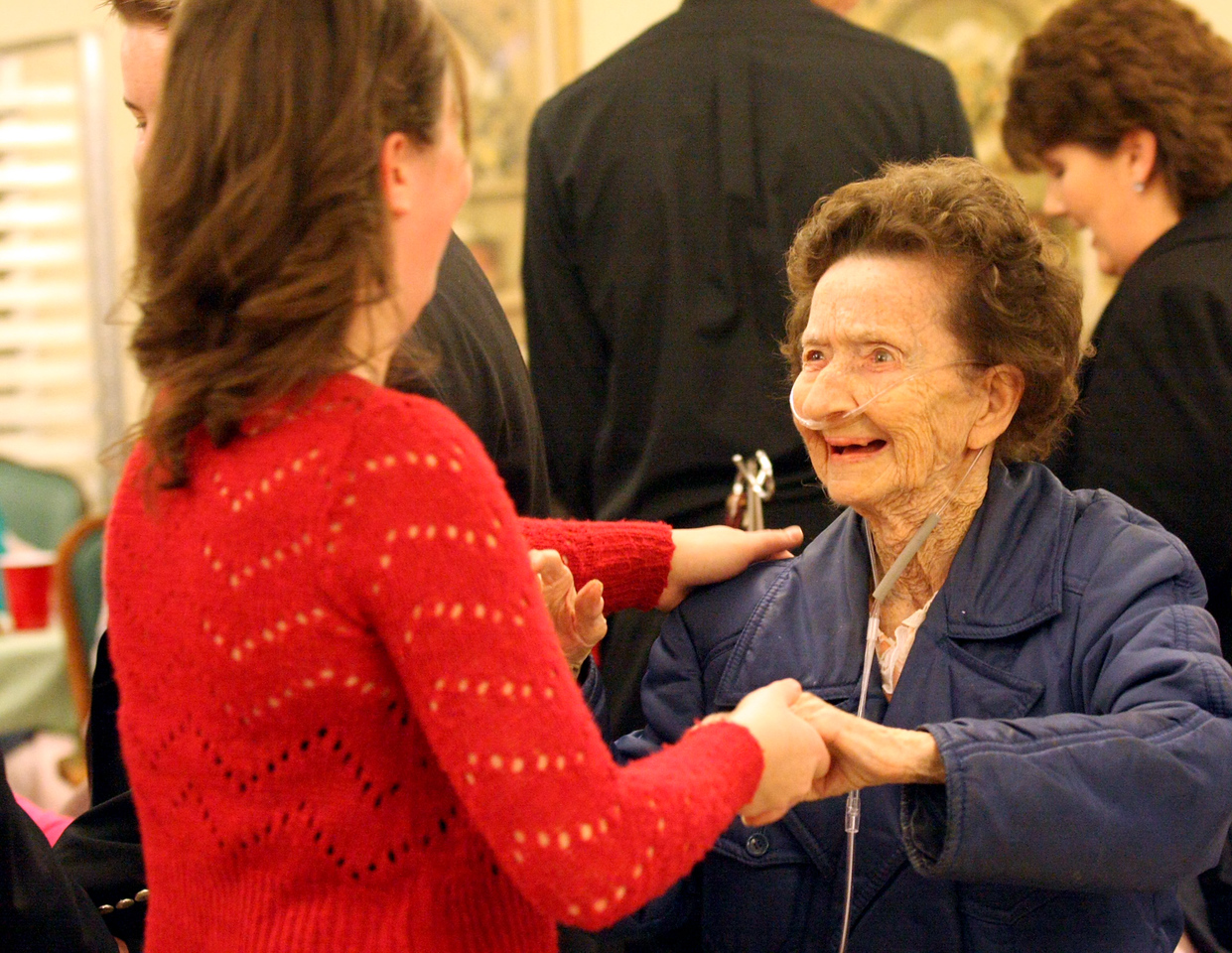 "E.L. Hubbard for the DDN<br /> Maria Eismann, 16, dances with Anna Staples, 93, during the ""Senior Prom"" Valentine's Day dance at Heartland of Beavercreek Nursing Home Saturday, February 14, 2009. The Beavercreek Youth Council hosted the dance."
