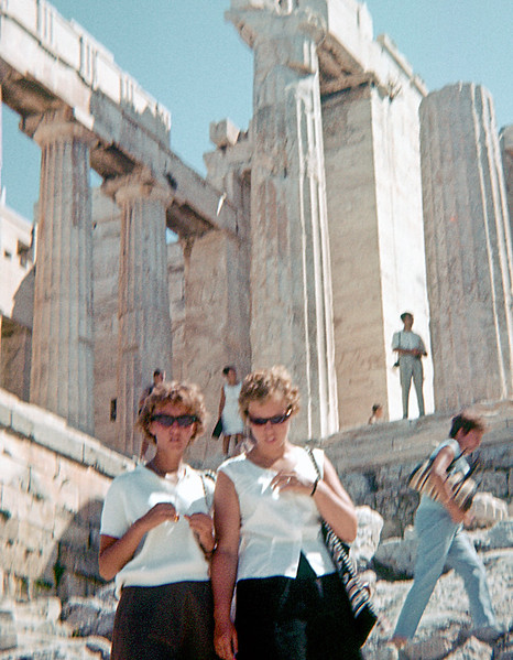 Touring ruins: Greece or Italy. Helen liked ruins. The vast majority of her slides are people free ruins. Here the columns are Doric so I would guess Greece. From one of Helens 2x2 inch slides. There are no dates or labels but I know she used this camera before her Instamatic days in 1962.  I put the year at 1959 but it could be five or more years before.