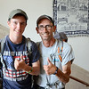 Scott Frittz, 19, and dad Michael Gibson, of Ohio, have been hitchhiking up and down the east coast since June 26. They stopped through Fitchburg and Leominster on July 10th and 11th. SENTINEL & ENTERPRISE / Ashley Green