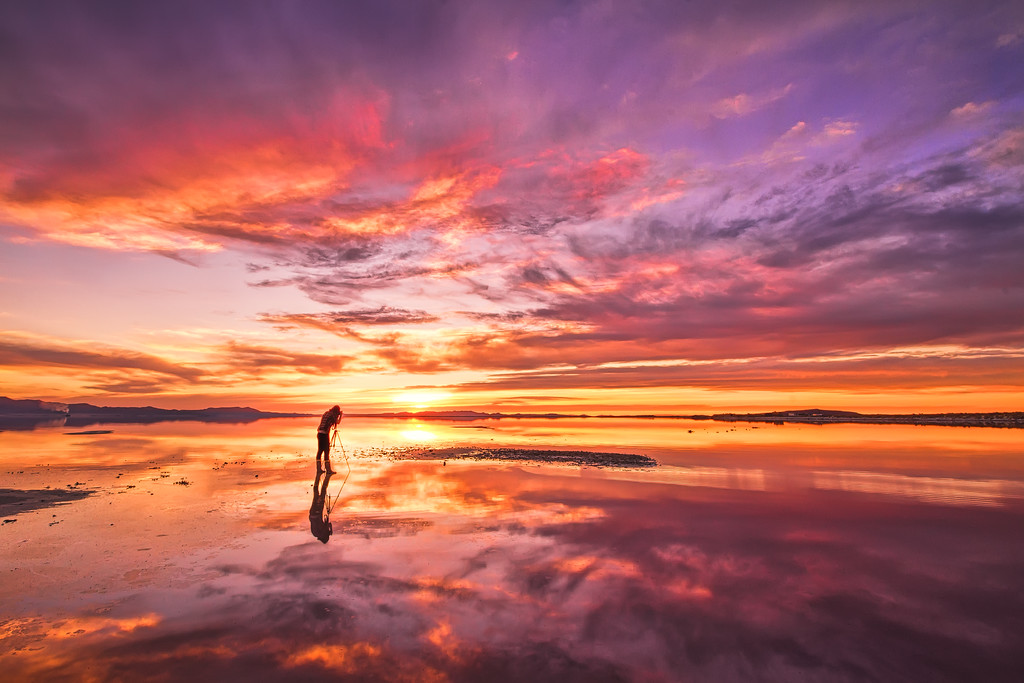 Photographing a Great Salt Lake sunset