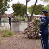 Honor Guard sounds a trumpet during a military funeral service at Riverside National Cemetery in Riverside, California.
