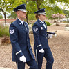 Honor Guards marching during a military funeral service at Riverside National Cemetery in Riverside, California.