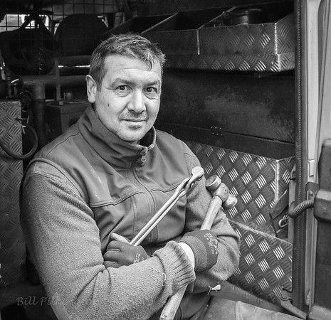 Sam in his farrier's workshop.