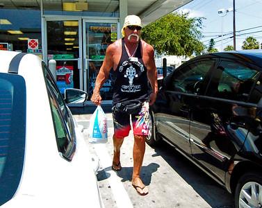 Hulk Hogan buying ice at gas station we were at in Florida.