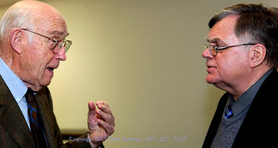 Former Anchorage Borough Mayor Jack Roderick and Pedro van Meurs, 12-8-11.