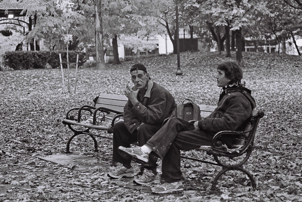 Bill & Terry 56 & 57/100 I came upon Bill & Terry enjoying a smoke in a park in Toronto. I could tell they were a couple of great characters and worth remembering. A bit skeptical at first, they soon revealed themselves as a couple of flirts with great senses of humour.