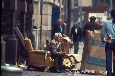 Gimme a break, mister. Bowery Life 1970 from slide scan. original Color