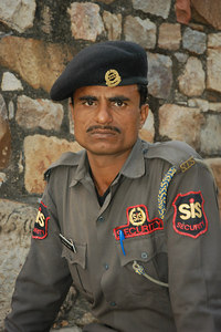 Security Guard Qutb Minar, India