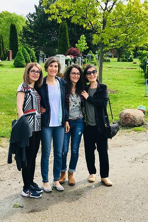Leyla, Mali, Maryam, and Sedi in the York Cemetery near Mahin's grave.