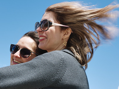 Maryam and Leyla with wind their hair.