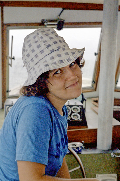 Miriam on a fishing boat off Barbados in July of 1978.