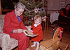 Two red-dressed Christmas Helens. Helen Hamilton, Marion's sister, is one of the Helens my daughter is named after; the other Helen being my paternal grandmother. This was our first Christmas in our Glenburnie house. The rocking horse in the foreground was Helen senior's gift to my daughter. My kids rode that hobby horse hard for years.