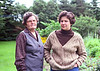 Marion and her daughter Ruth Dubin beside Marion's large garden around 1989.