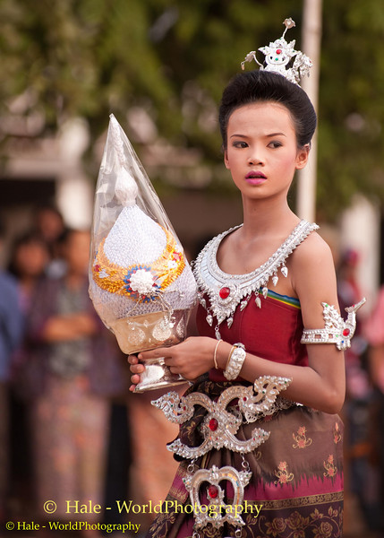 Ladyboy Leading His School's Team In Procession Around Field