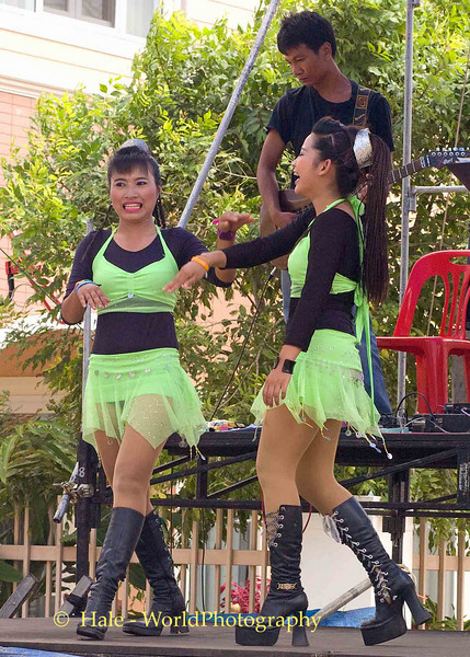 Go-Go Dancers Enjoying A Light Moment While Performing