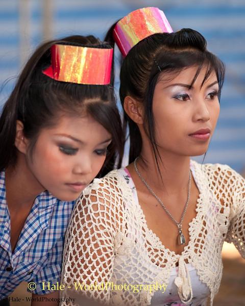 Lao Loum Go-Go Dancers Backstage During Song Poo Day Celebration