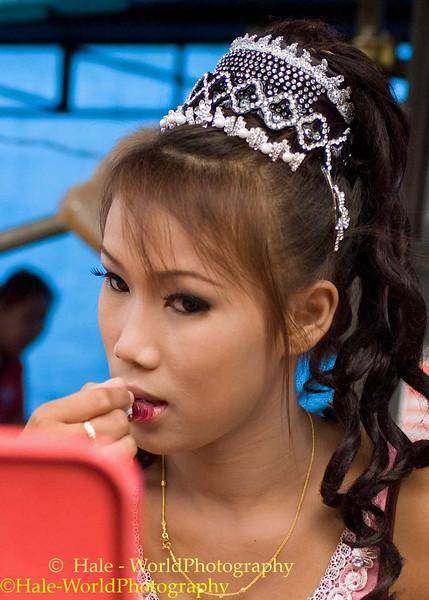 Go-Go Dancer Applying Lipstick, Tham Chanot, Thailand