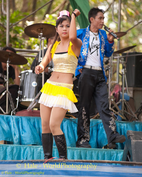 Dancing During the Mahlam Lao Show to Celebrate Song Poo Day In Tahsang Village, Isaan region, Thailand