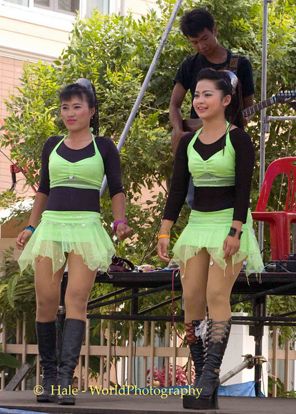 Two Isaan Go-Go Dancers Performing On Stage