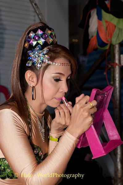 Performer Applying Make-Up