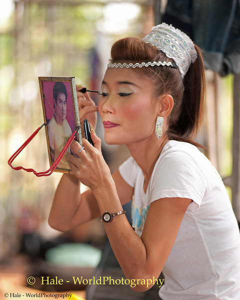 Lead Mahlam Lao Female Performer Applies Her Make-Up Backstage, Tahsang Village, Isaan