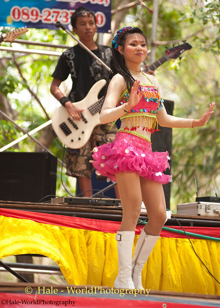 Dancing During the Mahlam Lao Show at Local Celebration In Isaan Region, Thailand