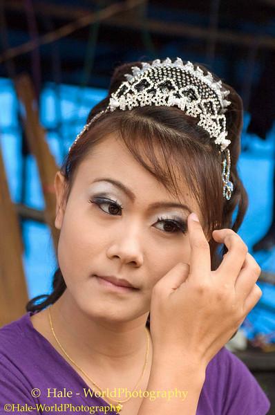 Go-Go Dancer Applying Eye Shadow, Isaan Region of Thailand