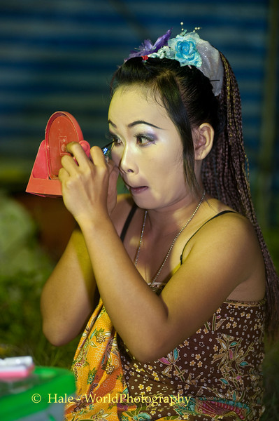 Lao Loum Go-Go Dancer Applying Her Make-Up Backstage