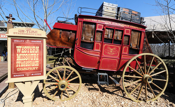 J-Mag/T. Rob Brown<br /> The theme for Silver Dollar City's new roller coaster Outlaw Run is that of a stage coach line, Western Missouri Stagecoach Company, trying to outrun a gang of outlaws Wednesday, March 13, 2013, at the Branson theme park. Outlaw Run is the park's new hybrid wood-steel coaster with multiple inversions including a double barrel roll.