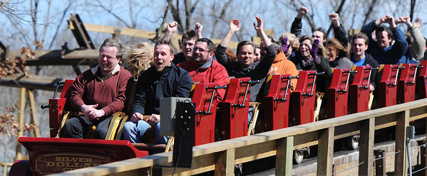 J-Mag/T. Rob Brown<br /> Roller coaster enthusiasts are filled with excitement as a train of the Outlaw Run roller coaster heads into the station Wednesday, March 13, 2013, at Silver Dollar City in Branson. Outlaw Run is the park's new hybrid wood-steel coaster with multiple inversions including a double barrel roll.