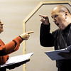 """JMag/T. Rob Brown<br /> Chet Fritz (left) and Jim Lile perform their take on the classic Abott & Costello """"Who's On First"""" comedy skit during a dress rehearsal for the Joplin Little Theatre's """"Let's Swing!"""" The revue is a tribute to the music of the 1940s."""