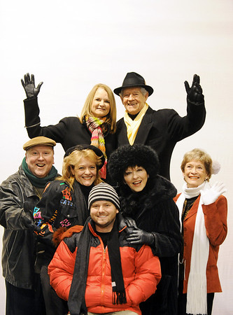 "Globe/T. Rob Brown<br /> The cast and director of the upcoming revue ""Let's Swing!"" a tribute to the music of the 1940s, wear their winter clothes. Pictured are (top row, from left) Becky Seidl, Chet Fritz, (second row, from left) Jim Lile, Tamara Barnett, Rebecca Luebber, director and pianist Cecie Fritz and (front row) Kenny Timbrel."