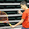 Globe/T. Rob Brown<br /> Garret Lewis, 12, of Joplin, returns a serve during area youth sports signup day at Missouri Southern State University's Leggett & Platt Athletic Center. Lewis was trying out a temporary tennis court for the USTA Missouri Valley's Kids' Tennis Club.