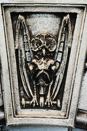 J-Mag/T. Rob Brown<br /> A gargoyle-like creature adorns the stonework around the fireplace inside the Crescent Motel in Eureka Springs, Ark.