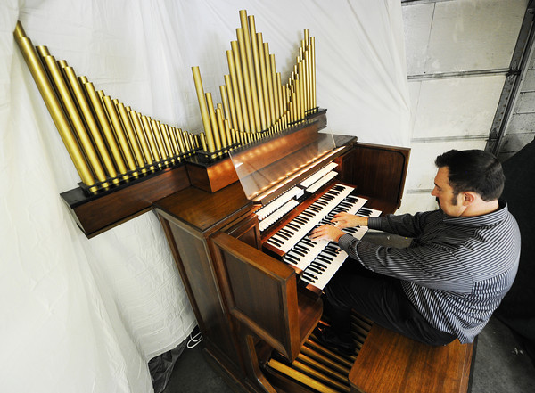 J-Mag/T. Rob Brown<br /> Chris Greninger of Joplin plays a 1987 Baldwin 645 3-manual electronic pipe organ made in Arkansas, which he modified with Conn speakers under the pipes.