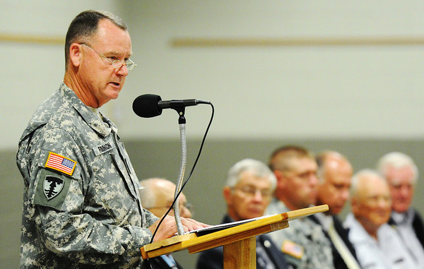 J-Mag/T. Rob Brown<br /> Brig. Gen. J. Marty Robinson (left), assistant adjutant general--Army (support), Missouri Army National Guard, speaks during the Patriot's Day Veterans Award Ceremony Wednesday afternoon, Sept. 11, 2013, at the Missouri National Guard Armory on 32nd Street in Joplin. The event was sponsored by the MOAA Four State Chapter in cooperation with the Guard, the Missouri Veterans Association and the state of Missouri.