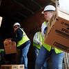 J-Mag/T. Rob Brown<br /> warehouse workers moves donated boxes of cereal at Misti's Mission.