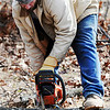 J-Mag/T. Rob Brown<br /> Warehouse worker Jamie Wynne uses a chainsaw to cut down trees to make room for a warehouse at Misti's Mission.