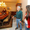 Homeowner Jack Hoover, standing with his daughter Shannon Hoover, 14, talks on Thursday about his open house fundraiser for Toys for Tots. The event will take place at his home, the Whitney House, at 127 Merriam Ave. in Leominster on December 13th, from 7 p.m. to 9 p.m.<br /> SENTINEL & ENTERPRISE / BRETT CRAWFORD