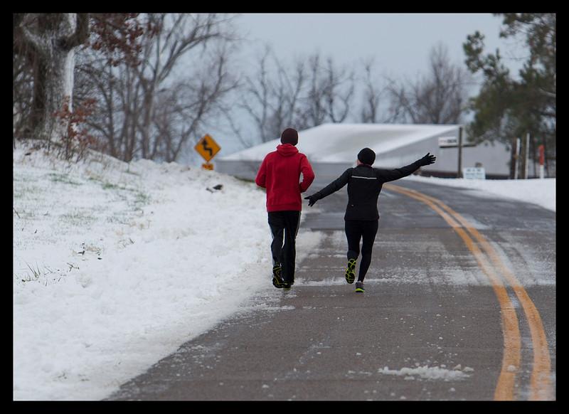 Happy, happy runner on the right!   Runner on the left...meh.