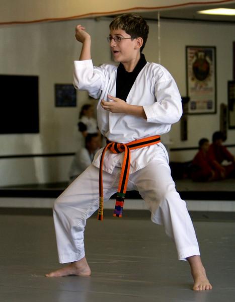 Jake's Green/Black Stripe Belt Test - November 2008