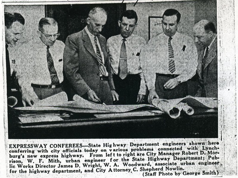 James D. Wright conferring with city officials about the Lynchburg Expressway (5095)