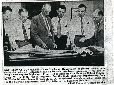 James D. Wright conferring with city officials about the Lynchburg Expressway (4144)