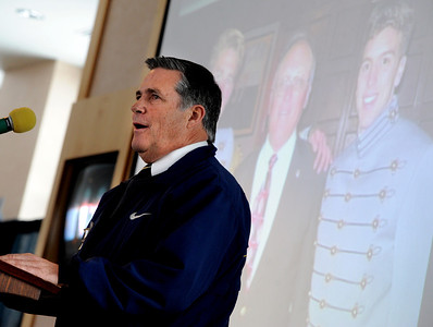 Dana Quiller, brother of Jerry, talks about his brother during the ceremony. A memorial service was held at the Byron R. White Stadium Club for former University of Colorado track and field coach, Jerry Quiller. Quiller, who coached at CU from 1985 to 1995, died of cancer at age 69  on February 2, 2012. For more photos of the memorial, go to www.dailycamera.com. February 11, 2012 / Cliff Grassmick
