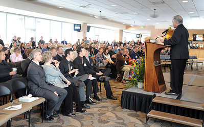 Al Quiller, right, brother of Jerry Quiller,  addresses the memorial service crowd Saturday afternoon. A memorial service was held at the Byron R. White Stadium Club for former University of Colorado track and field coach, Jerry Quiller. Quiller, who coached at CU from 1985 to 1995, died of cancer at age 69  on February 2, 2012. For more photos of the memorial, go to www.dailycamera.com. February 11, 2012 / Cliff Grassmick